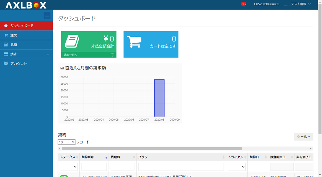 CustomerCPトップ画面